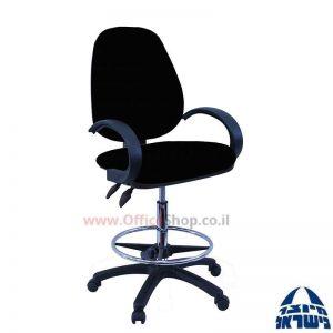 כסא שרטט מרופד TOPAZ-בסיס שחור חישוק ניקל +ידיות סהר