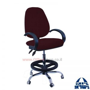 כסא שרטט מרופד דגם TOPAZ-בסיס ניקל חישוק שחור+ידיות סהר