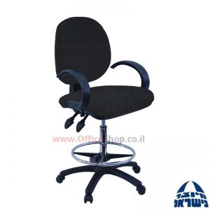כסא שרטט מרופד דגם MORAN-בסיס שחור חישוק ניקל+ידיות סהר