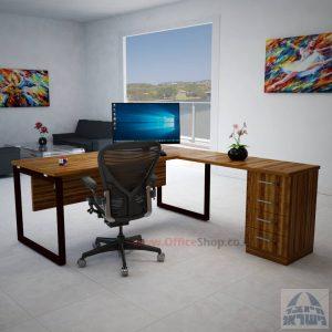 שולחן מנהלים פינתי 4M-Diamond רגל שחורה כולל מיסתור עץ