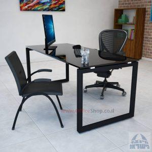 שולחן כתיבה זכוכית שחורה דגם Diamond