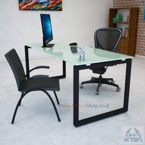 שולחן כתיבה זכוכית לבנה דגם Diamond רגל שחורה