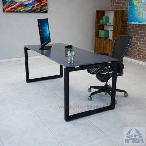 שולחן כתיבה זכוכית אפורה דגם Diamond