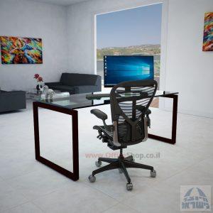 שולחן כתיבה זכוכית שקופה דגם Diamond רגל שחורה