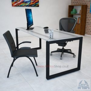 שולחן כתיבה דגם Diamond זכוכית אקסטרה קליר צרובה  רגל שחורה