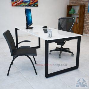שולחן כתיבה זכוכית אקסטרה קליר בצבע לבן שלג דגם Diamond רגל שחורה