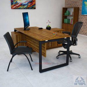 שולחן מנהלים פינתי דגם Diamond רגל שחורה