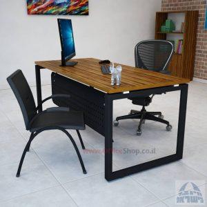 שולחן מזכירה יוקרתי דגם Diamond רגל שחורה כולל מיסתור מתכת