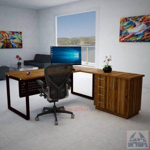 שולחן מנהלים פינתי 4DM-Diamondרגל שחורה כולל מיסתור מתכת