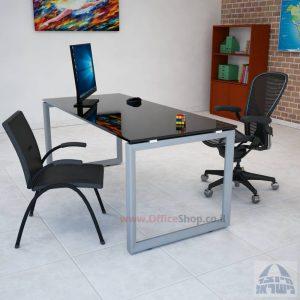 שולחן כתיבה זכוכית שחורה דגם Diamond רגל כסופה