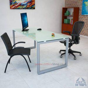 שולחן כתיבה זכוכית לבנה דגם Diamond רגל כסופה