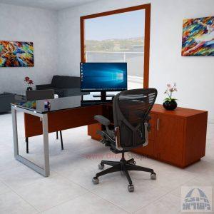 שולחן מנהלים פינתי Diamond Glass רגל כסופה + זכוכית שחורה