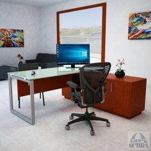 שולחן מנהלים פינתי Diamond Glass רגל כסופה + זכוכית לבנה