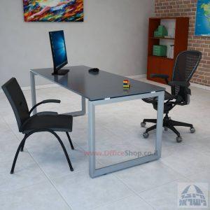 שולחן כתיבה זכוכית אפורה דגם Diamond רגל כסופה