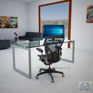 שולחן כתיבה זכוכית שקופה דגם Diamond רגל כסופה