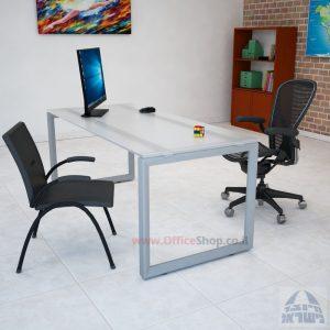שולחן כתיבה דגם Diamond זכוכית אקסטרה קליר צרובה  רגל כסופה