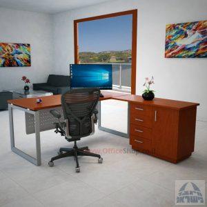 שולחן מנהלים פינתי 4DM-Diamondרגל כסופה כולל מיסתור מתכת