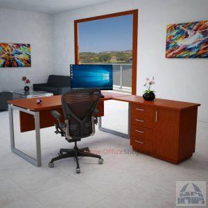 שולחן מנהלים פינתי 4DM-Diamondרגל כסופה כולל מיסתור עץ