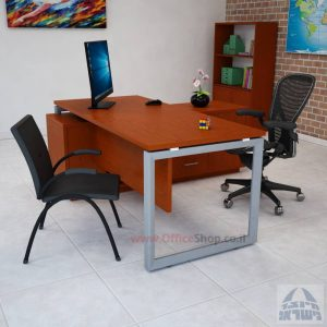 שולחן מנהלים פינתי דגם Diamond רגל כסופה
