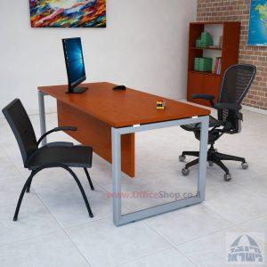 שולחן כתיבה יוקרתי דגם Diamond רגל כסופה כולל מיסתור עץ