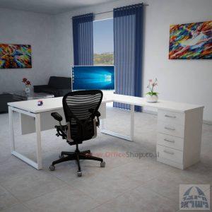 שולחן מנהלים פינתי 4M-Diamond רגל לבנה כולל מיסתור עץ