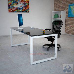 שולחן כתיבה זכוכית שחורה דגם Diamond רגל לבנה