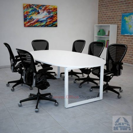שולחן ישיבות יוקרתי דגם DIAMOND רגלשחורה