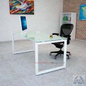 שולחן כתיבה זכוכית לבנה – רגל לבנה דגם Diamond