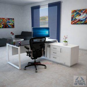 שולחן מנהלים פינתי Diamond Glass רגל לבנה + זכוכית שחורה