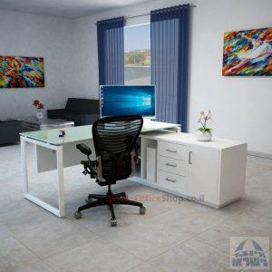 שולחן מנהלים פינתי Diamond Glass רגל לבנה + זכוכית לבנה