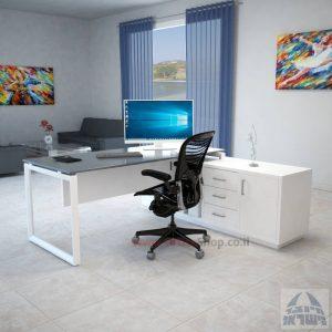 שולחן מנהלים פינתי Diamond Glass רגל לבנה + זכוכית אפורה