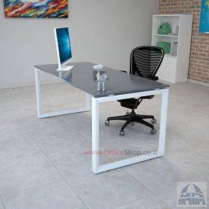 שולחן כתיבה זכוכית אפורה דגם Diamond רגל לבנה
