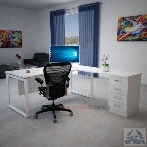 שולחן מנהלים פינתי 4M-Diamond רגל לבנה כולל מיסתור מתכת