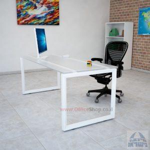 שולחן כתיבה דגם Diamond זכוכית אקסטרה קליר צרובה  רגל לבנה