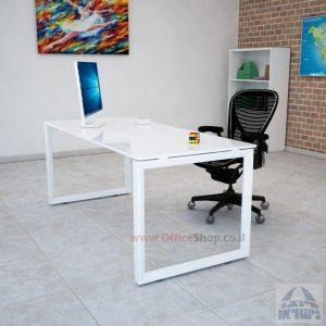 שולחן כתיבה זכוכית אקסטרה קליר בצבע לבן שלג דגם Diamond רגל לבנה