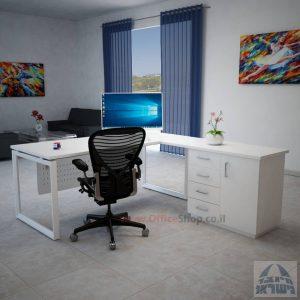 שולחן מנהלים פינתי 4DM-Diamondרגל לבנה כולל מיסתור מתכת