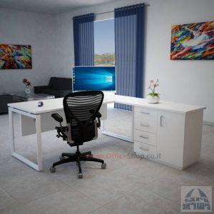 שולחן מנהלים פינתי 4DM-Diamondרגל לבנה כולל מיסתור עץ