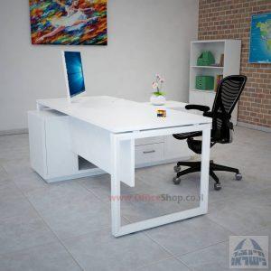 שולחן מנהלים פינתי דגם Diamond רגל לבנה