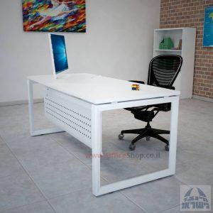 שולחן כתיבה יוקרתי דגם Diamond רגל לבנה כולל מיסתור מתכת