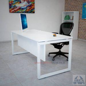 שולחן כתיבה יוקרתי דגם Diamond רגל לבנה כולל מיסתור עץ