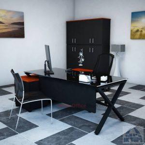 שולחן מנהלים פינתי דגם Extra Glass רגל שחורה כולל זכוכית שחורה