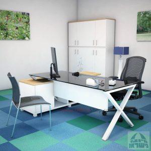 שולחן מנהלים פינתי דגם Extra Glass רגל לבנה כולל זכוכית שחורה
