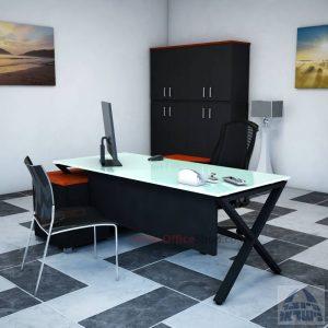 שולחן מנהלים פינתי דגם Extra Glass רגל שחורה כולל זכוכית לבנה