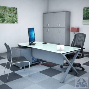 שולחן מנהלים פינתי דגם Extra Glass רגל כסופה כולל זכוכית לבנה