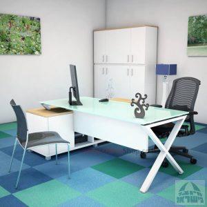 שולחן מנהלים פינתי דגם Extra Glass רגל לבנה כולל זכוכית לבנה