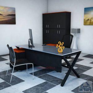 שולחן מנהלים פינתי דגם Extra Glass רגל שחורה כולל זכוכית אפורה
