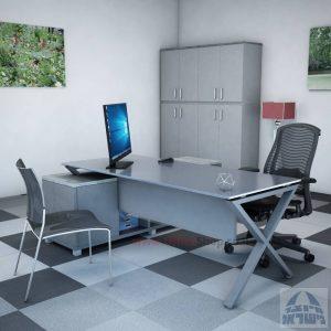 שולחן מנהלים פינתי דגם Extra Glass רגל כסופה כולל זכוכית אפורה