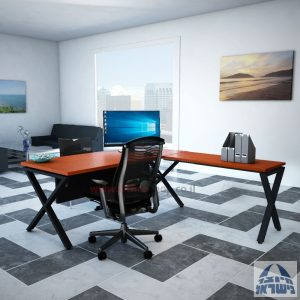 שולחן מזכירה פינתי Extra – רגל שחורה - מיסתור עץ