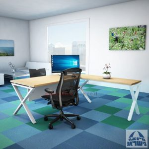 שולחן מזכירה פינתי Extra – רגל לבנה - מיסתור עץ