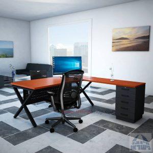 שולחן מזכירה יוקרתי דגם Extra – M5רגל שחורה - מיסתור מתכת